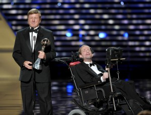 Dick Hoyt, left, and Rick Hoyt, accept the Jimmy V Perseverance Award at the ESPY Awards on Wednesday, July 17, 2013, at the Nokia Theater in Los Angeles. (Photo by John Shearer/Invision/AP)